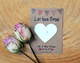 10 Personalised wildflower seed wedding favours, seed packets, personalised favours, seeds, wedding favour, rustic wedding, green wedding,