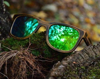 Wood Sunglasses | Revo Emerald Polarized Lenses | Driftwood | Rainforest Sunglasses