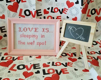 Love is...Sleeping in the Wet Spot framed cross stitch