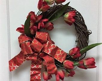 Valentine Wreath – Tulip Wreath – Spring Wreath – Summer Wreath – One of a Kind Wreath– February Wreath– Wreath w/ Tulips – Beautiful Wreath