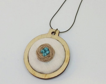 "Miscarriage / Mama Embroidery Hoop Necklace - 1"" - Bird's Nest"