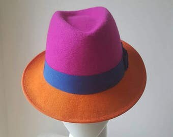 Handmade colour blocked pink and orange trilby hat