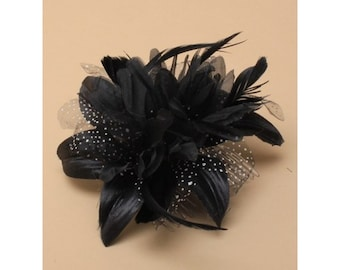 Black feather flower fascinator on a clear comb, Head Piece, Mother of the Bride / Groom, Church Fascinator, Wedding Hair, Black Flower Hair