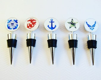 Military Wine Bottle Stoppers- US Navy Gift- Marine Gift- Army Gift- Air Force Gift- Coast Guard Gift