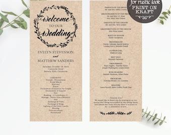 Printable program card, Wreath Wedding program,Wedding Program Template, Wedding Program Printable, Ceremony Template, Instant Download