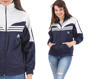 Adidas Bomber Jacket Track Jacket 1970s Navy Blue White Embroidery 3 Stripes Logo Vintage Zip Up Turtleneck Made in Germany Hipster Small