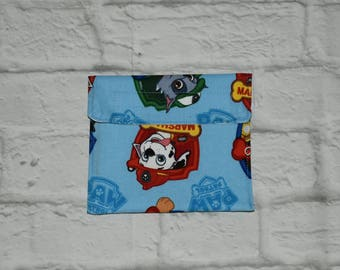 Reusable snack bags, washable, food safe, travel, paw patrol