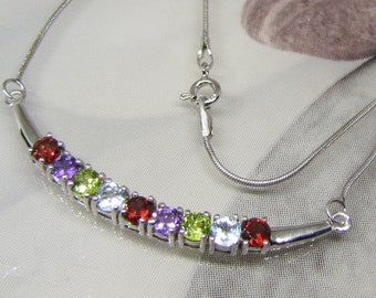 Necklace silver and gems, stones, silver necklace women necklace 44 Cm necklace Multi-Pierres, women gift, gift idea for her.