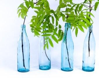 Vintage glass bottles set, blue bottles set, blue glass bottles, bottles decor, old bottles set, vintage collection bottles, vodka bottles