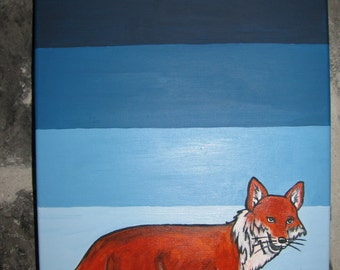 Fox canvas painted by hand, blue gradient, child room decoration