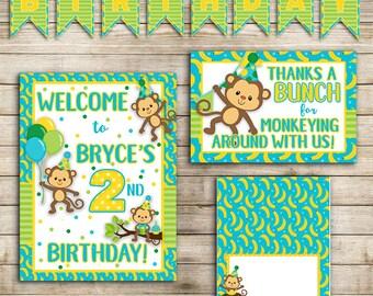 Monkey Birthday Party   Decoration Kit   Customized