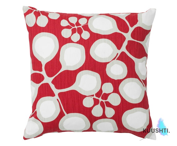 LARGE Red Throw Pillow Red Cushion Red Home Decor Botanical