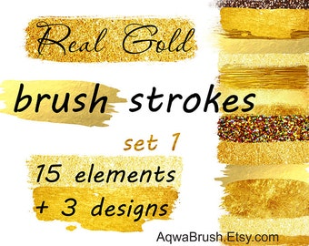 Real Gold Brush Strokes clipart - Commercial use stripes brushstroke gold glitter shiny sparkle golden yellow brilliant bright background