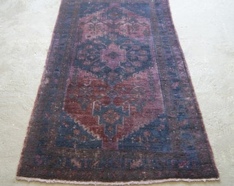 4'x7' Purple Persian Carpet, Overdyed Vintage Rug, Oriental Distressed Carpet