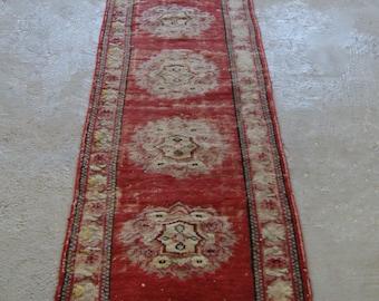 2'9''x10'10'' Vintage Oushak Runner, Handmade Runner Rug, Wool Hallway Runner Rug