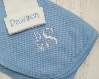 Personalized baby boy blanket and hospital hat- baby boy receiving blanket, newborn hospital hat, baby gift, swaddle blanket, 30x40 in.
