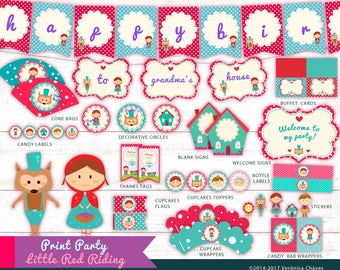 Little Red Riding Party Theme - Instantly Downloadable-Customize without any extra value.