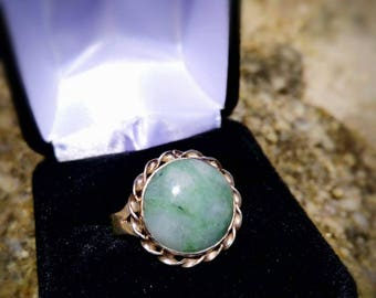 Jadeite jade and silver ring size 10