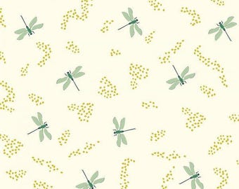 Organic Cotton Knit Fabric - dragonfly knit - Birch Fabrics - mint gold and cream Color Organic Cotton Knit Fabric