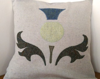 Scottish Tartan and Tweed Thistle cushion