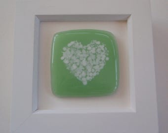 Green Fused Glass Framed Heart