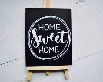 SALE! Home Sweet Home Mini Chalkboard Easel Housewarming New Home House Hand Lettering Modern Calligraphy Black and White Wreath Sign Gift