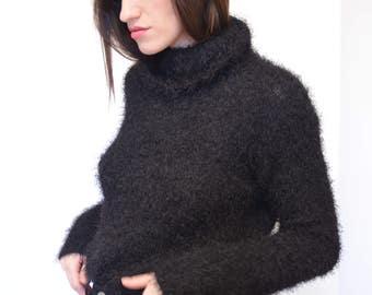 Black Eyelash Turtleneck Sweater Vintage