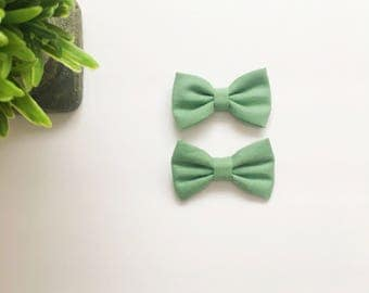 Mini Addi Bows|Sage Green|Pigtail Set