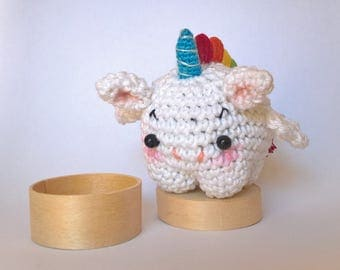 Tooth fairy box - Unicorn tooth first tooth box - Tooth fairy amigurumi box - Scatolina per il primo dentino