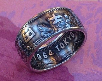 1964 Tokyo Olympic Games 1000 Yen Silver Coin Ring (92.5%, Sterling Silver)