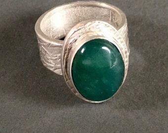 Aventurine Ring, Silver Ring, Statement Ring, Green Aventurine, Handmade Ring, Metalsmith, Art Jewelry