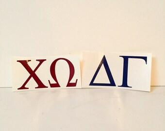 Custom Greek Letter Vinyl Sticker Decals