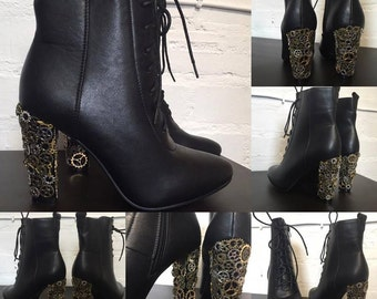 Steampunk Ladies ClockWork Heel Ankle Boots