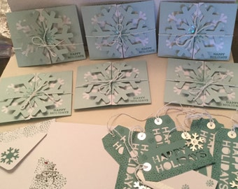 6 Holiday Snowman Cards with stamped envelopes and 10 matching, double tags.