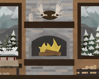 "Cabin Dramatic Play Wall Mural 72""x48"""