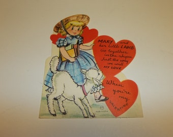 Vintage Valentine Mary Had A Little Lamb
