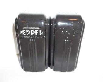 Vintage Black Art Deco Salt And Pepper Shakers