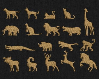 Animals - Mini Machine embroidery designs - 18 folders for instant download