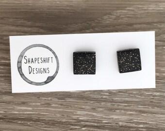 Handmade Polymer Clay Earrings / Square / Black Glittery / Midnight