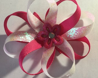 Pink and white flower hair bow