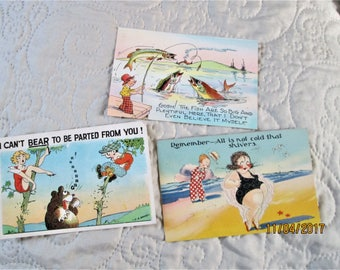 1930's Postcards, funny american postcards, amusing fishing postcards, 1930's beach art, sexy 30's cards