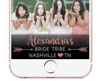 Rose Gold Custom Bride Tribe Bachelorette Party Snapchat Filter, Birthday Snapchat filter