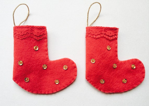 Mini Red Felt Christmas Stockings - Handmade Christmas Decorations