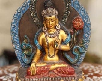Painted White Tara Stone Carving from Nepal, Painted with Gold