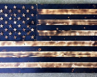 Wooden American Flag, Charred Flag, Vintage Flag, Rustic, Rustic Flag, United States Flag, US Flag, Stars and Strips, Burnt, Wall Decor,