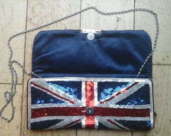 Sequin Union Jack Clutch