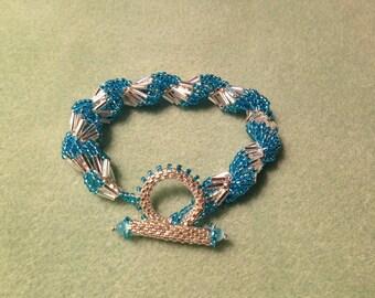 Capri Blue & Silver Spiral Shells Bracelet