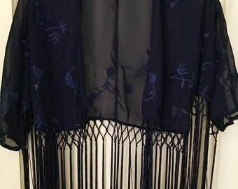 Navy Blue Kimono Fringe Cardigan