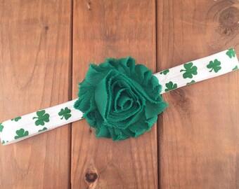 St Patricks Day Headband, St Pattys Day Headband, Irish Headband, Shamrock Headband, Newborn Headband, Baby Girl Headband, Photography Prop