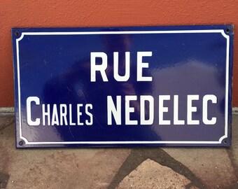Old French Street Enameled Sign Plaque - vintage nedelec 2